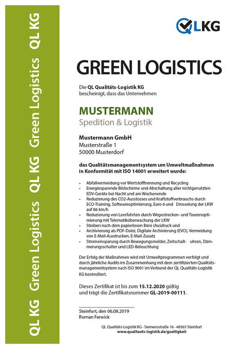 Green Logistics Musterzertifikat